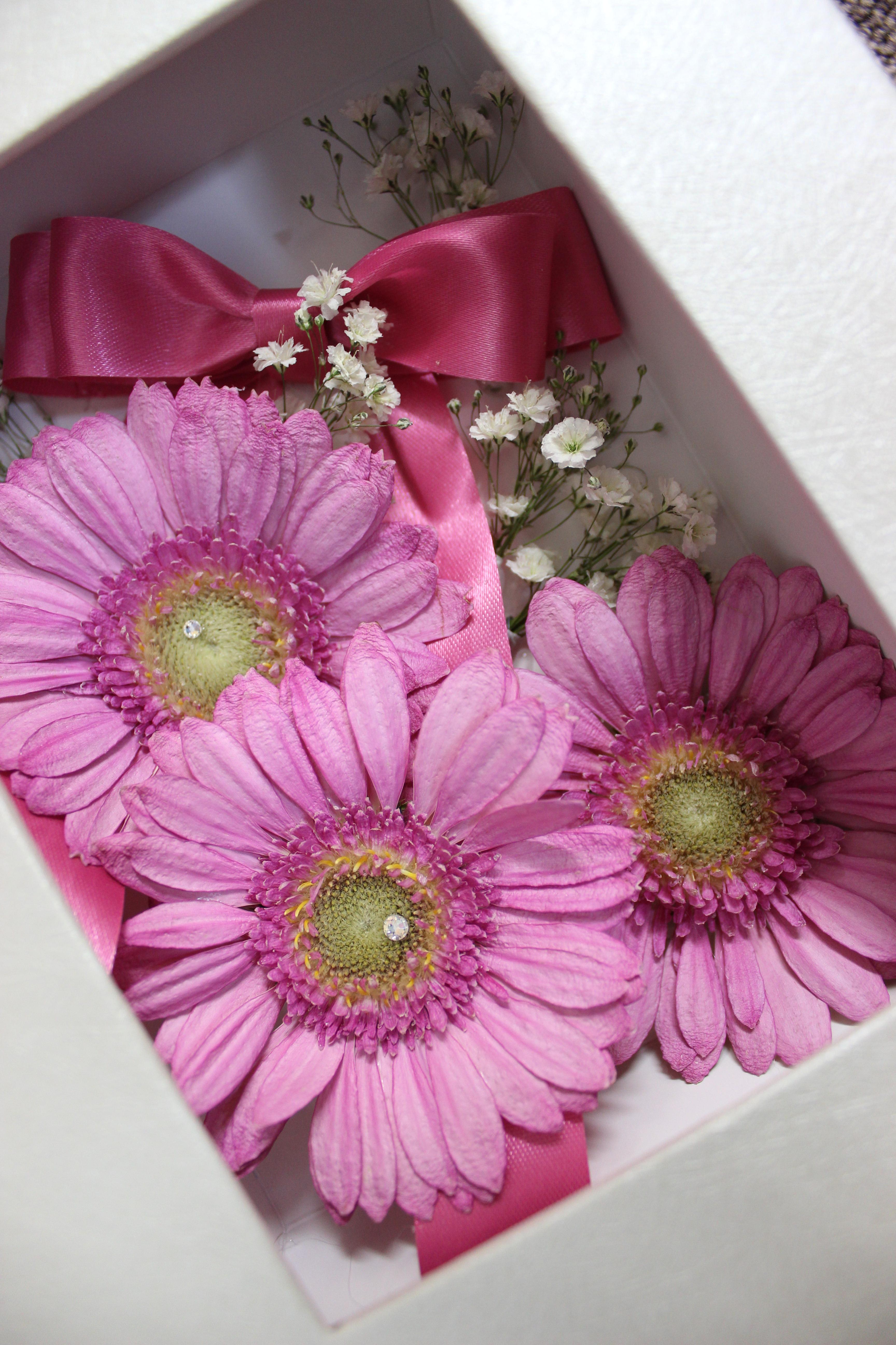 ピンクガーベラ花束完成