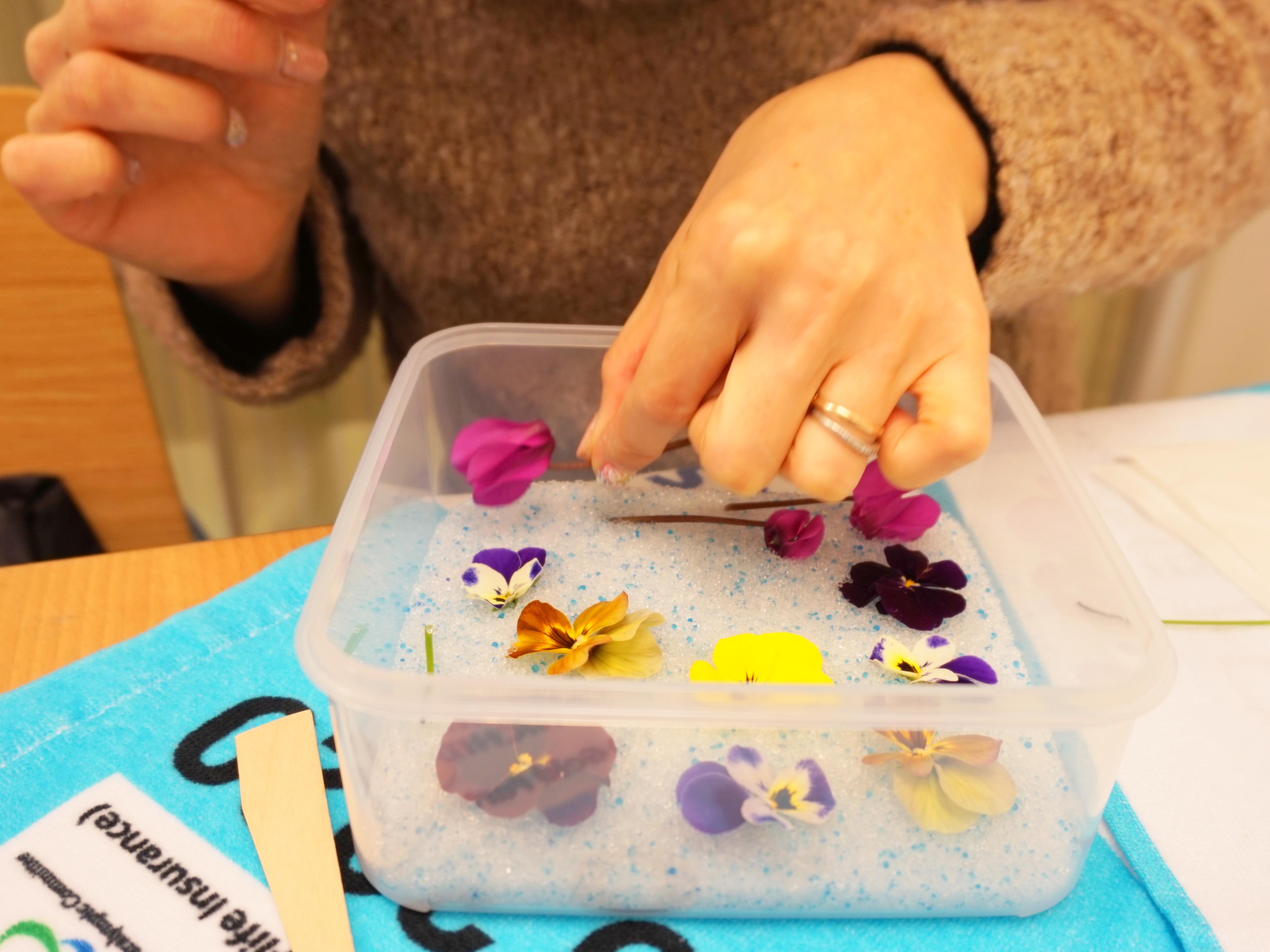 特殊な乾燥剤に寄る レカンフラワー花の乾燥方法